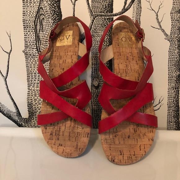 32192534e0e0f9 DV by Dolce Vita Shoes - DV Dolce Vita Red Leather Strappy Flat Sandals
